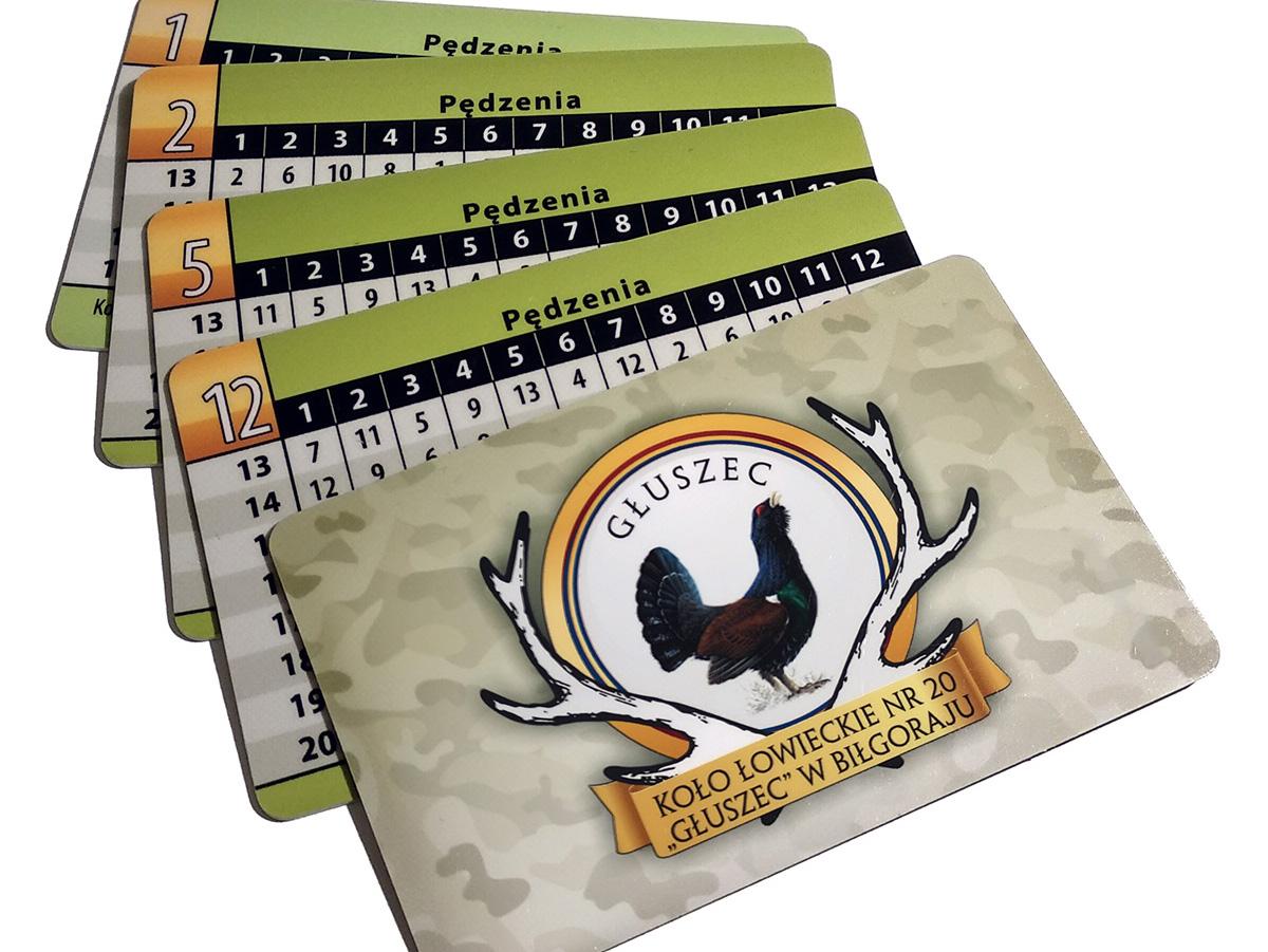 plastikowe karty PCV stanowiskowe dla myśliwych