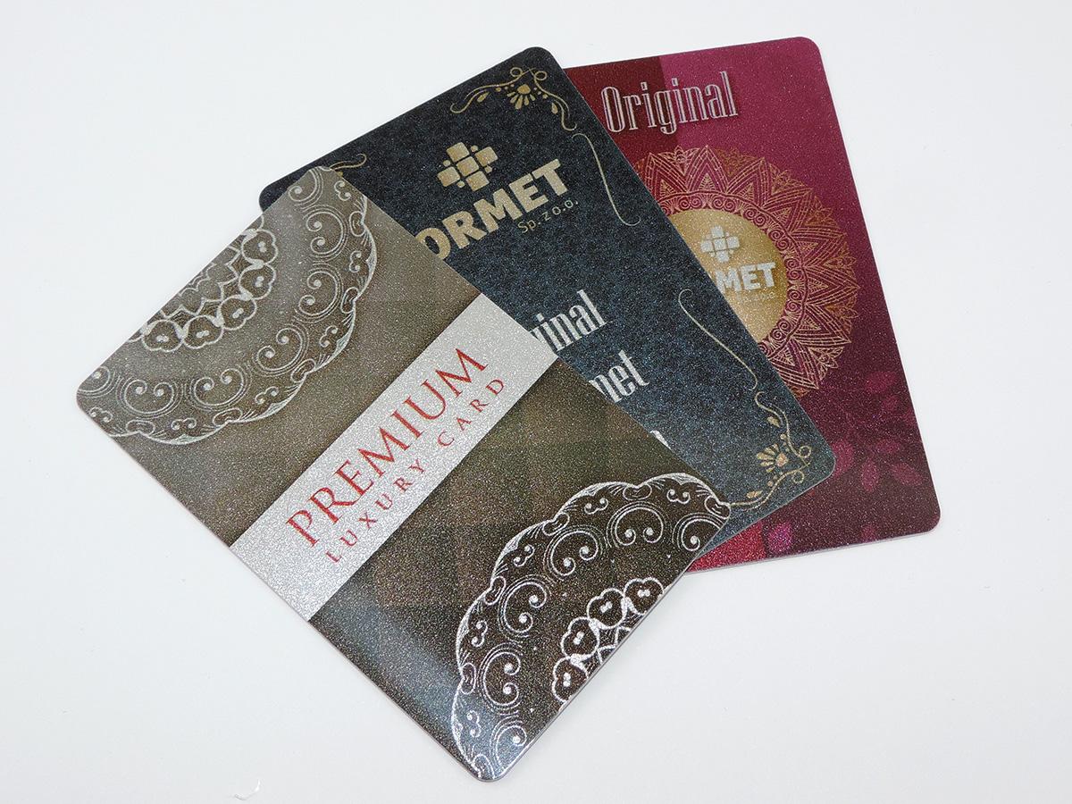 srebrne karty plastikowe PCV wizytówki podarunkowe klienta